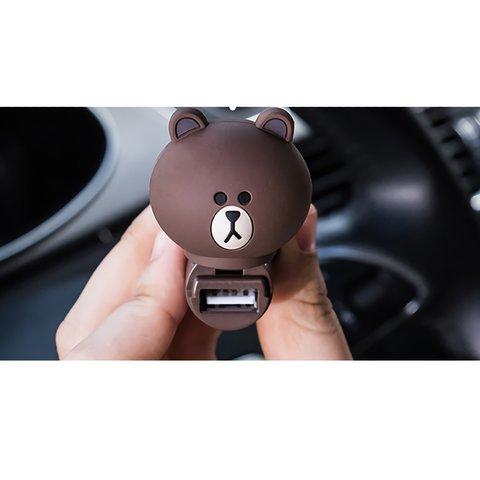 Автомобільний зарядний пристрій (USB, Line Friends – Brown) Прев'ю 1